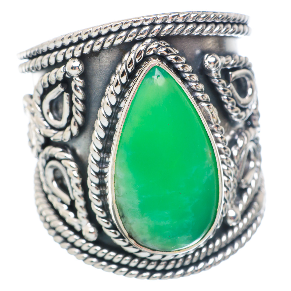 Ana Silver Co Large Chrysoprase Ring Size 8.5 (925 Sterling Silver) Handmade Jewelry RING898345 by Ana Silver Co.