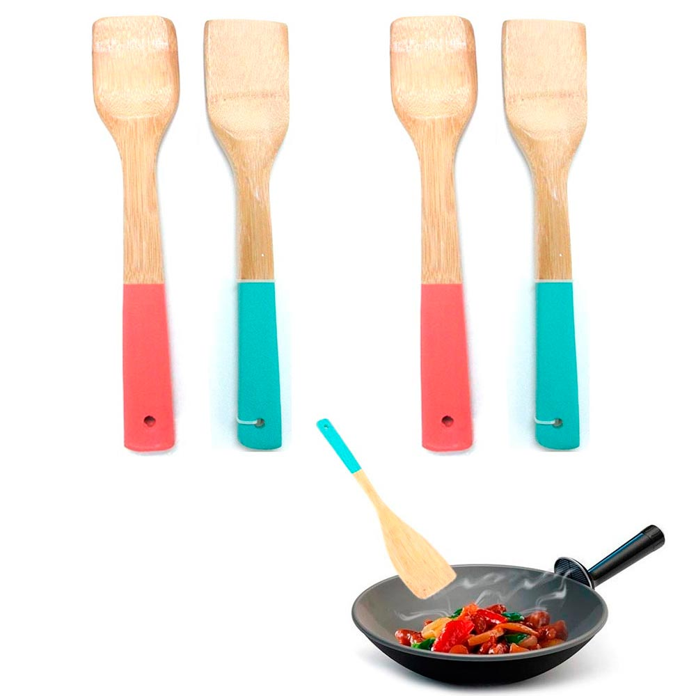 4 Bamboo Spatula Set Wooden Kitchen Cooking Mixing Flip Tool Utensil Non Stick