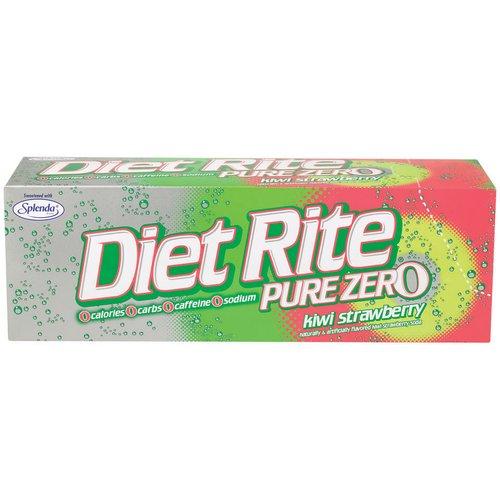 Diet Rite Pure Zero Diet Kiwi Strawberry Soda Cool Pack, 12 oz, 12pk