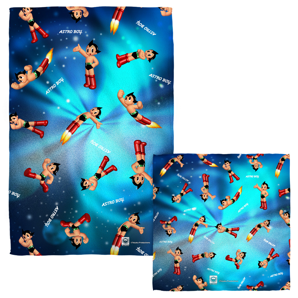 Astro Boy Pattern Face Hand Towel Combo White