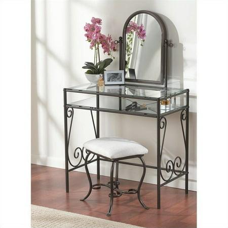 - Linon Clarisse Metal Vanity Set in Linen