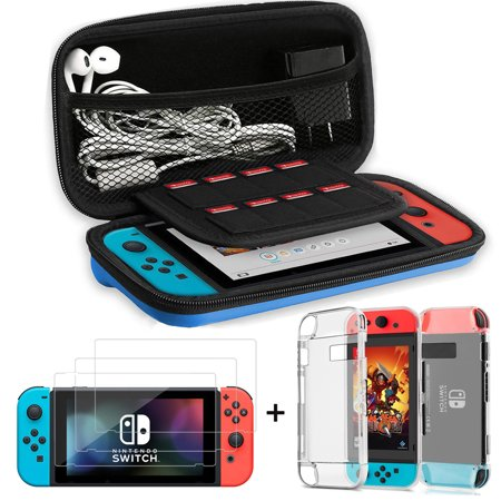 3-in-1 Switch Accessiores Starter Kit, Travel Carrying Case Bag+Shell Cover+3Pcs Clear Screen Protector For Nintendo Switch (Red Case Bag)
