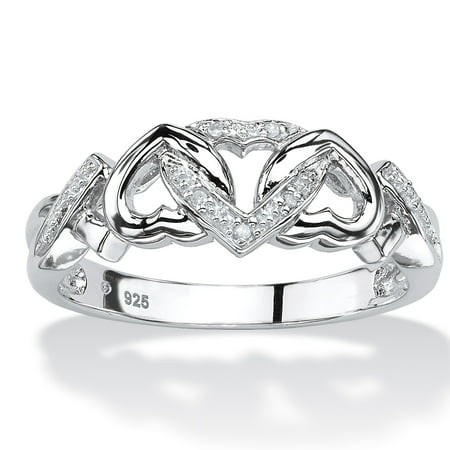 Diamond Accent Interlocking Hearts Promise Ring in Platinum over Sterling Silver