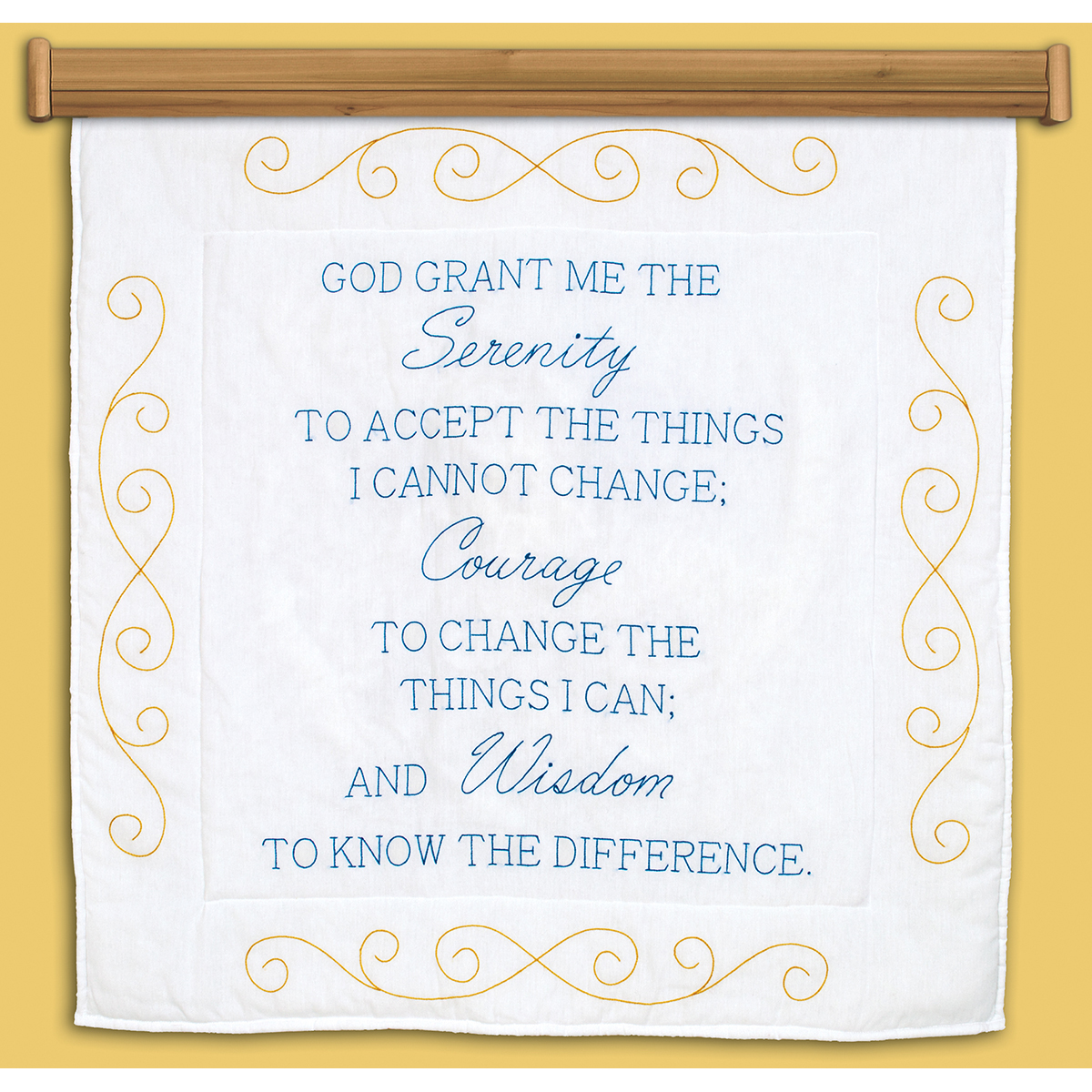 "Stamped White Wall Or Lap Quilt 36""X36""-Serenity Prayer"