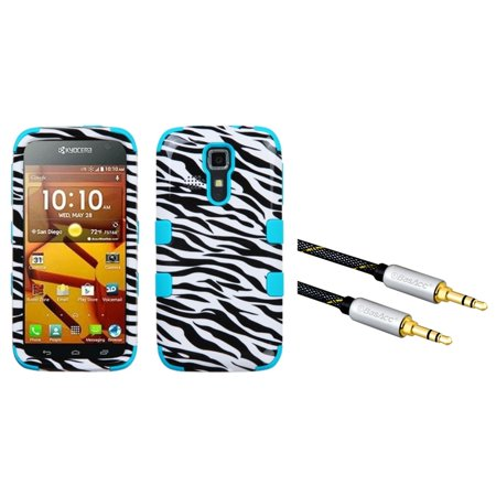 insten zebra skin tropical teal hybrid tuff case for kyocera hydro life c6530 icon 6730 with 3. Black Bedroom Furniture Sets. Home Design Ideas
