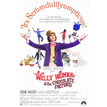 Willy Wonka   The Chocolate Factory Movie Poster Print  27 X 40