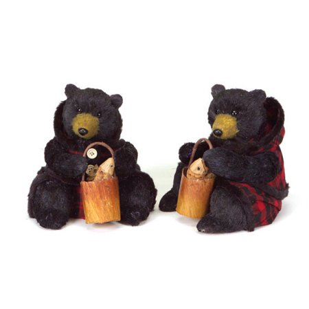 Set of 2 Sitting Black Bear Christmas Figures in Red Plaid 8
