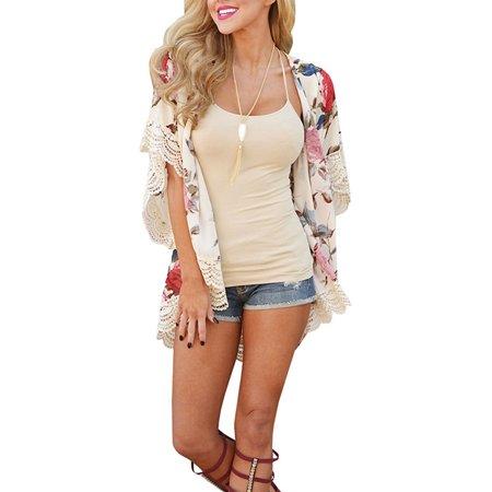 (Women Chiffon Shawl Kimono Coat Cardigan Tops Floral Beach Cover Up Blouse Summer Beachwear Casual Loose Shirt)