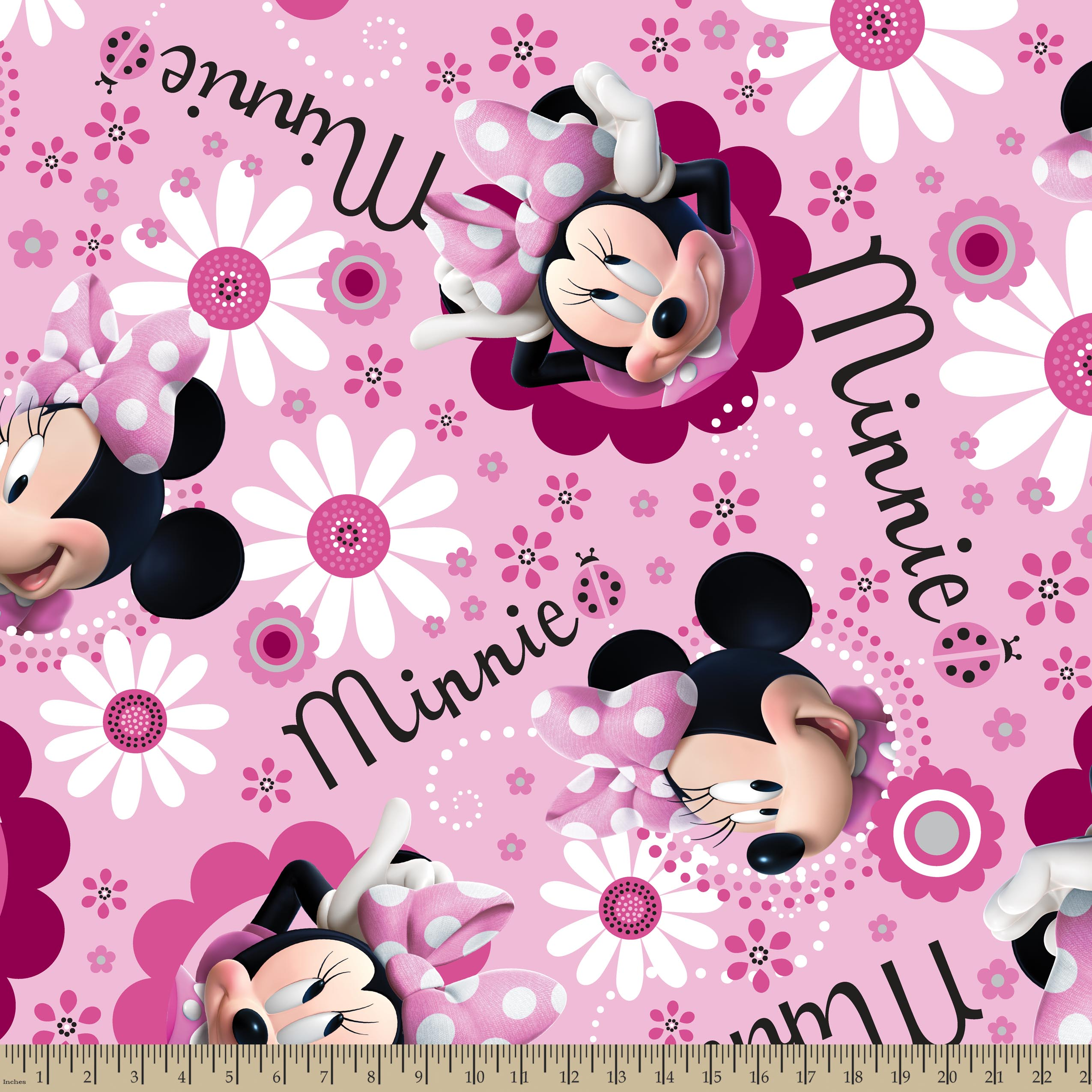 Disney Minnie Face And Flower Toss Fleece Fabric by the Yard