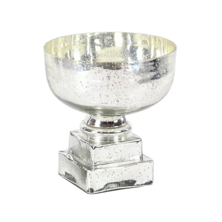 Decmode Glam 11 X 10 Inch Silver Glass Decorative Pedestal Bowl