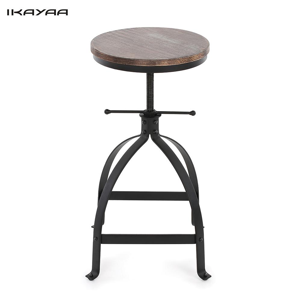 IKayaa Adjustable Height Swivel Round Bar Stool Industrial Style Kitchen  Dining Chair Natural Pinewood And Steel   Walmart.com