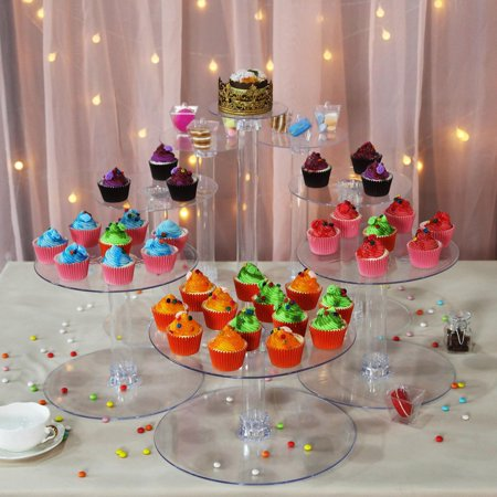 BalsaCircle Clear 8 Tiers Wedding Cupcake Cake Stand - Party Dessert Display Pedestal Riser](Cupcake Displays)
