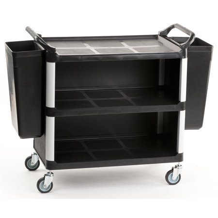 Box Utility Cart - Heavy Duty Utility Cart with (2) Rubbish Bins, Covered Storage Area, Handles and Swivel Wheels - Large (UC3LGE2BN7)
