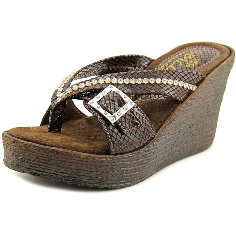 Sbicca Horizon Snake  Women  Open Toe Synthetic Brown Wedge Sandal