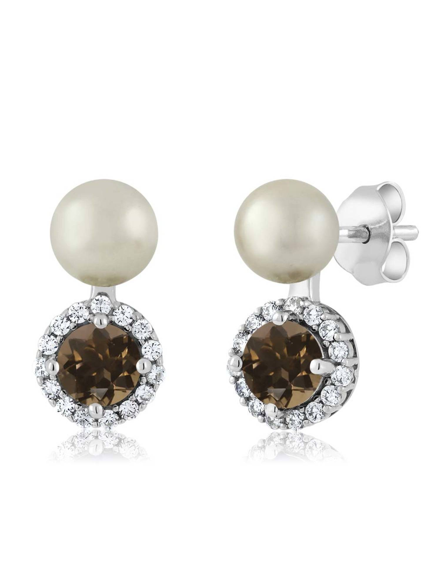 1.22 Ct Round Brown Smoky Quartz Cultured Freshwater Pearl 925 Silver Earrings