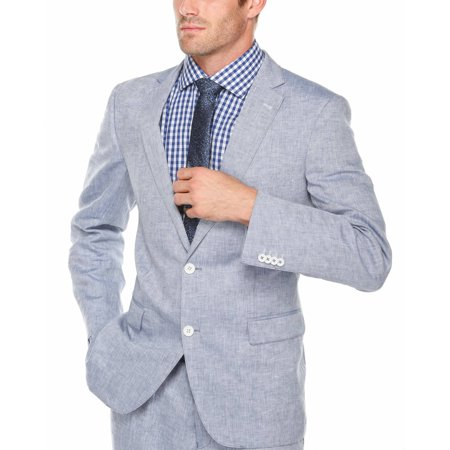 Verno Men's Light Blue 100% Linen Classic Fit Suit