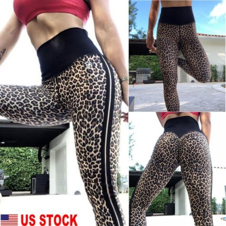 New Fashion Women Leopard Print Yoga Fitness Leggings Push Up Hip Stretch Sports Trousers For