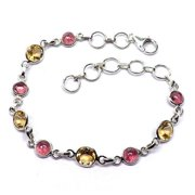 Sitara Collections Handmade Sterling Silver Tourmaline and Citrine Bracelet (India)