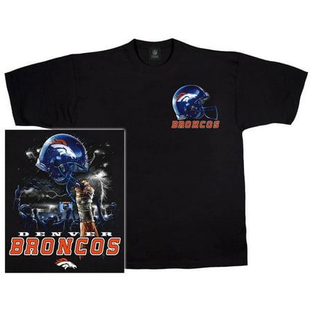 NFL: Broncos Logo Sky Helmet Apparel T-Shirt - Black Blue Sky Custom Apparel