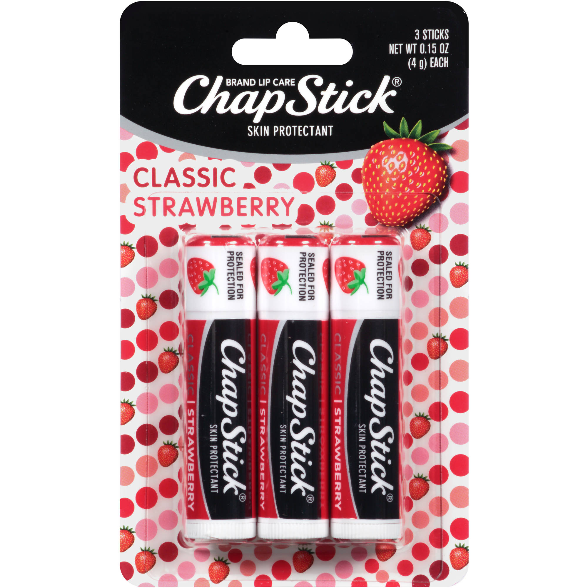 ChapStick Skin Protectant Lip Balm, Classic Strawberry, 0.15 oz, (Pack of 3)