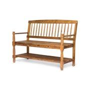 Cody Outdoor Rustic Acacia Wood Bench with Shelf, Teak