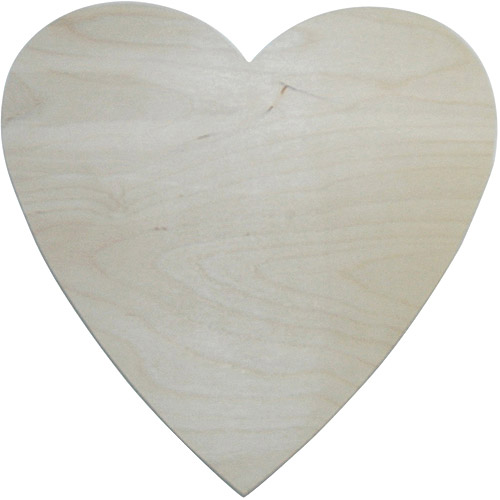 """MPI Unfinished Wood Baltic Birch Plaque, Heart, 10"""" x 10"""""""