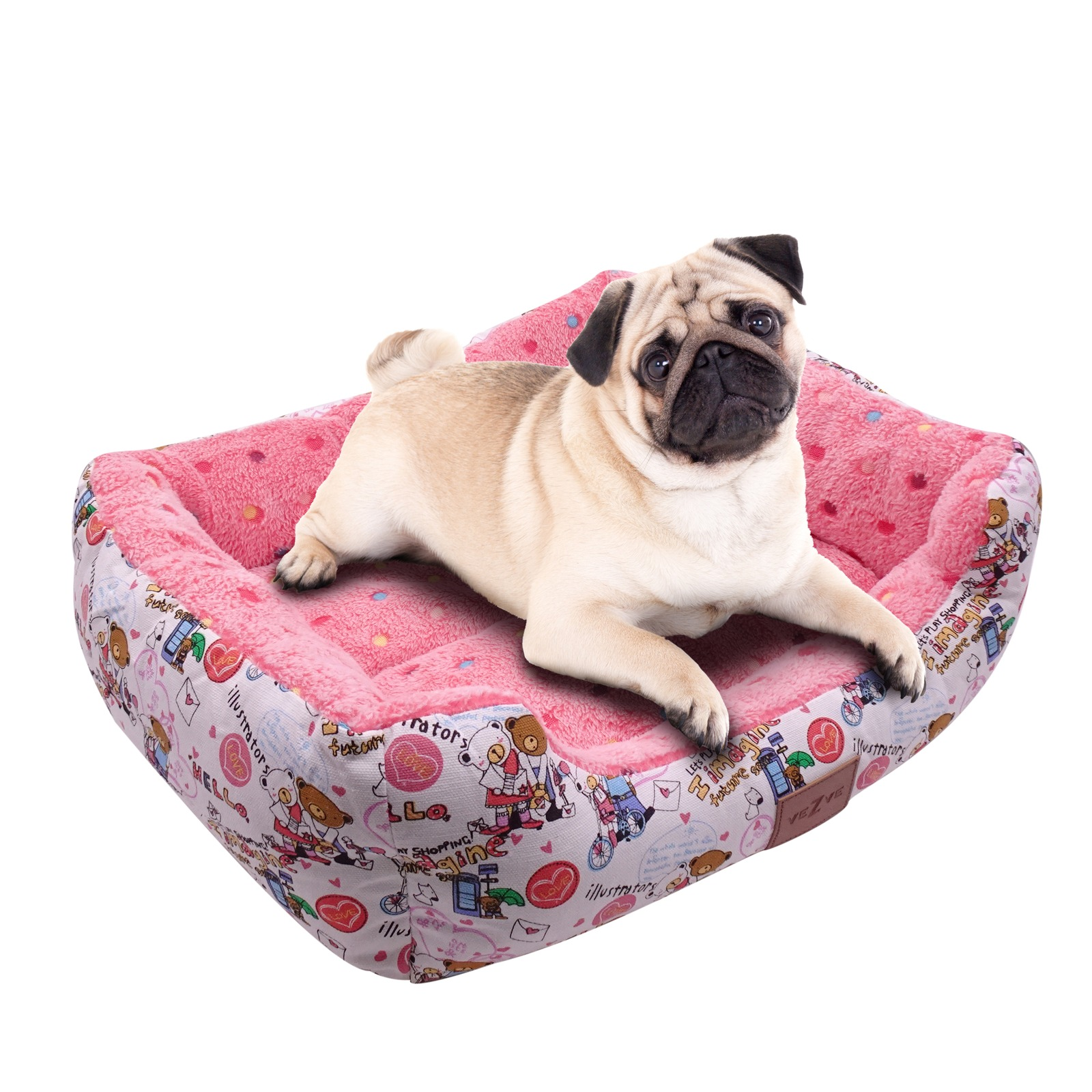 VEZVE Rectangular Soft Dog Beds with Removable Pad Polyester Bed for Resting Warming Calming Sleeping for Small Medium Large Dogs
