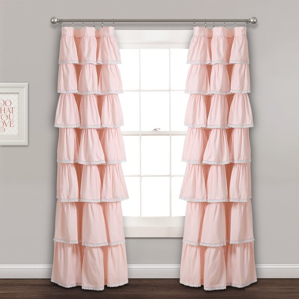 Lace Ruffle Window Curtain Panel Blush 52x84 - Walmart.com - Walmart.com