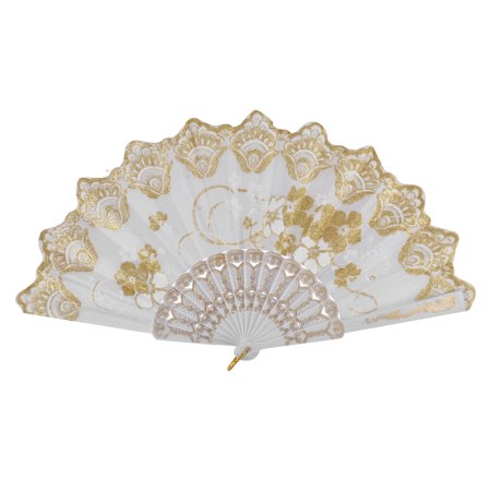 Lady Floral Printed Glittery Powder Detail Plastic Ribs Hand Foldable Fan White - Plastic Hand Fans