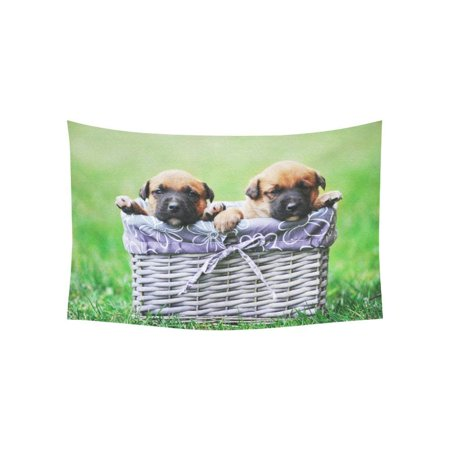 CADecor Wall Tapestry Puppies Belgian Shepherd Malinois Wall Tapestry 40x60 inches