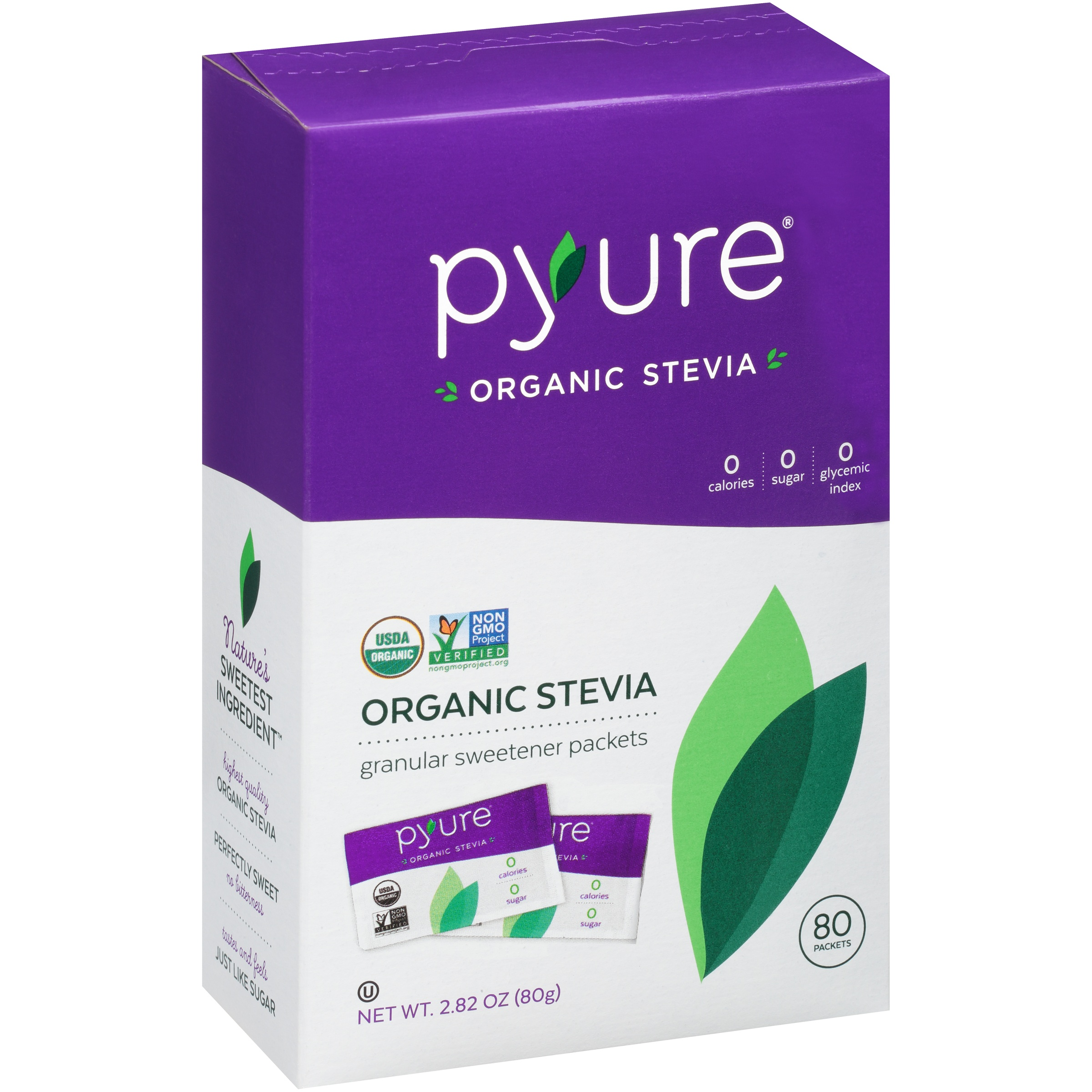 Pyure Organic Stevia Granular Sweetener Packets, 80 count, 2.82 oz