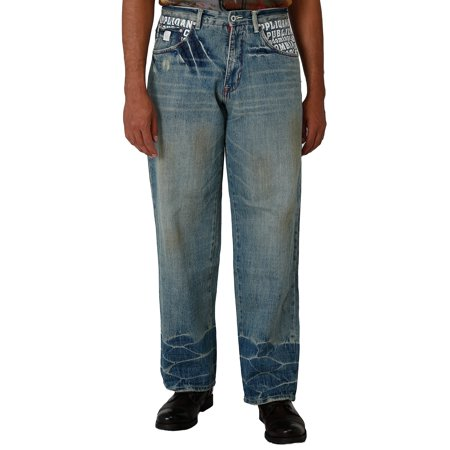 Blanco Label Men's Loose Fit Denim Jeans Vintage Washed & Embellished Pockets ()