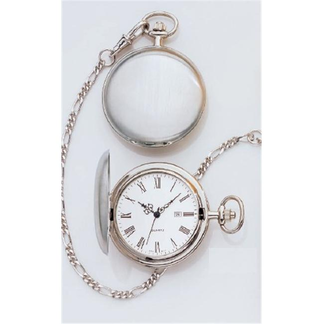 Legere Bpw-804-R Large Plain Silver Pocket Watch - White Face with Date