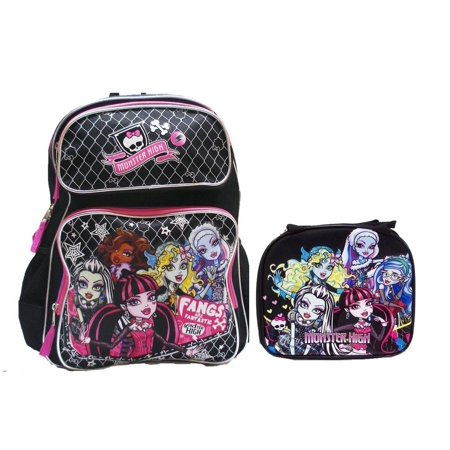 Large Backpack with Insulated Lunch Bag Set 2 Pcs ., Approximate 16 Tall x 12 Wide x 5 Deep - Large Backpack By Monster High - Monster High Book Bag