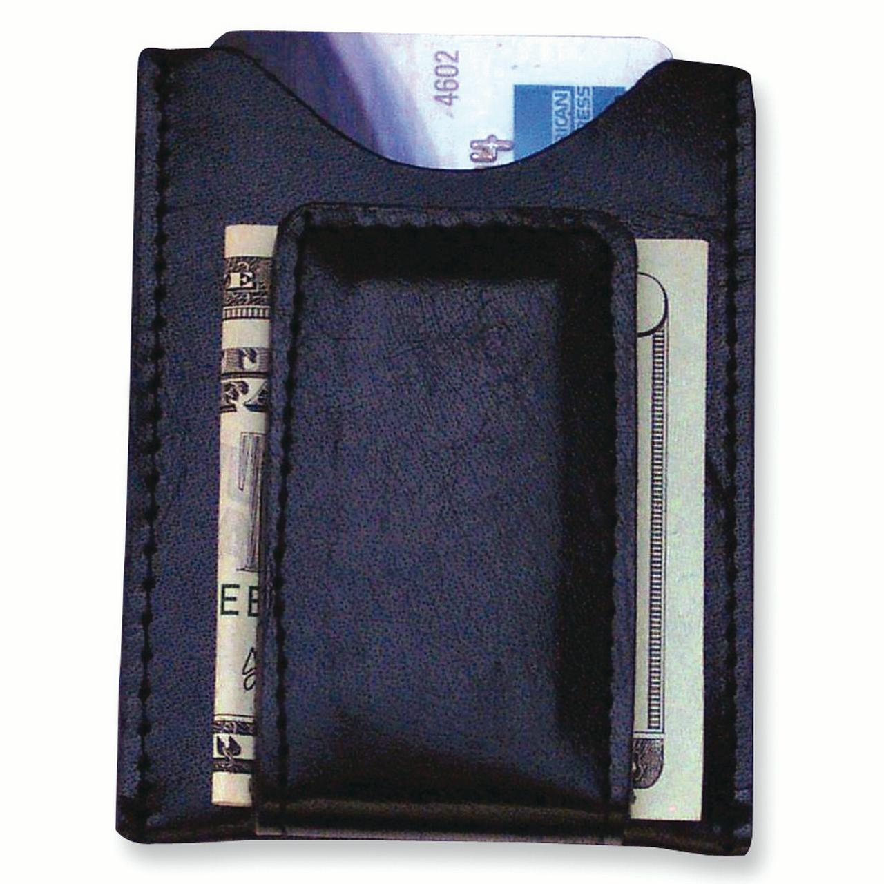 Black Leather Magnetic Front Clip Wallet Man Money Hbag Tote Key Ring Fashion Jewelry Gift For Dad Mens For Him - image 4 of 4