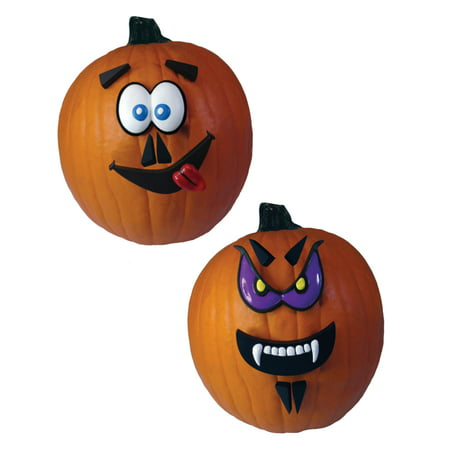 Blue And Purple Crazy Faces Pumpkin 12 Piece Kit Halloween Decoration - Pumpkin Faces For Halloween