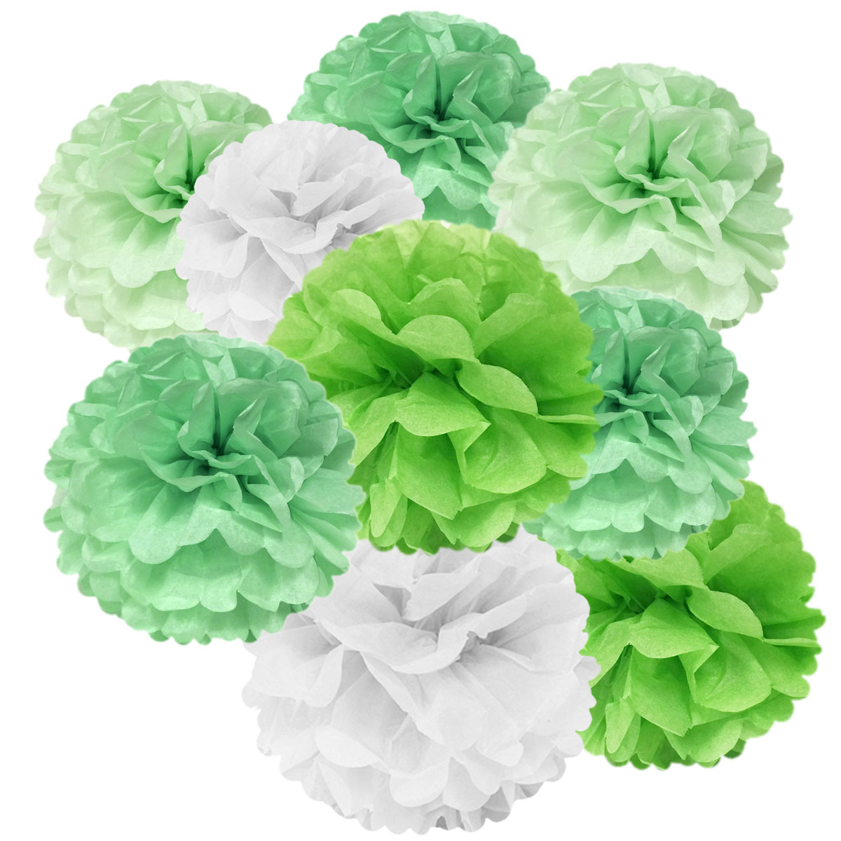 Wrapables® Set of 12 Tissue Pom Pom Party Decorations for Weddings, Birthday Parties Baby Showers and Nursery Decor, Mint/Sea Green/White/Lime Green