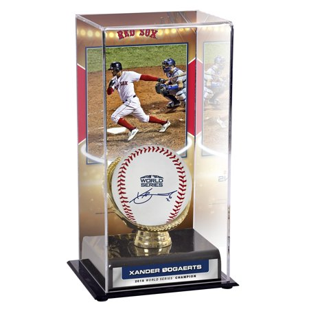 Champions Autographed Card (Xander Bogaerts Boston Red Sox 2018 MLB World Series Champions Autographed Logo Baseball and 2018 MLB World Series Display Case and Image - Fanatics Authentic)