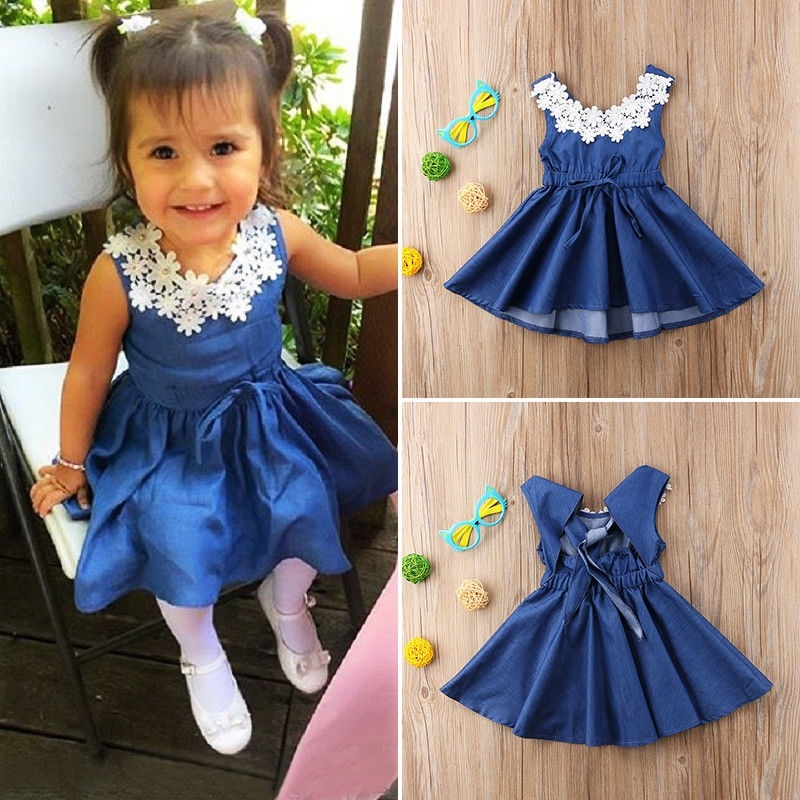 Toddler Kids Baby Girl Clothes Unicorn Lace Floral Princess Party Dress Sundress