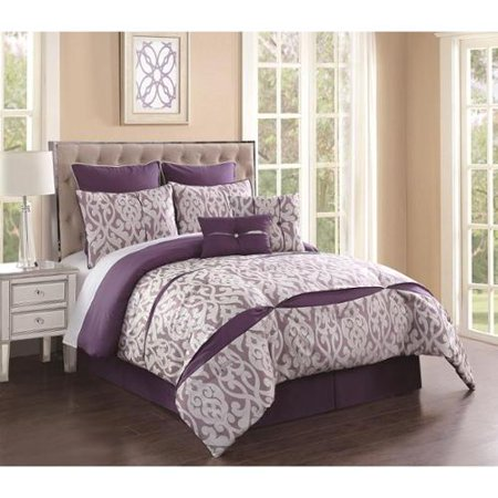 rianna 8 piece comforter set cal king purple ivory