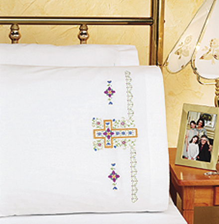 "Janlynn Religious Cross Pillowcase Pair Stamped Cross Stitch, 20"" x 30"""