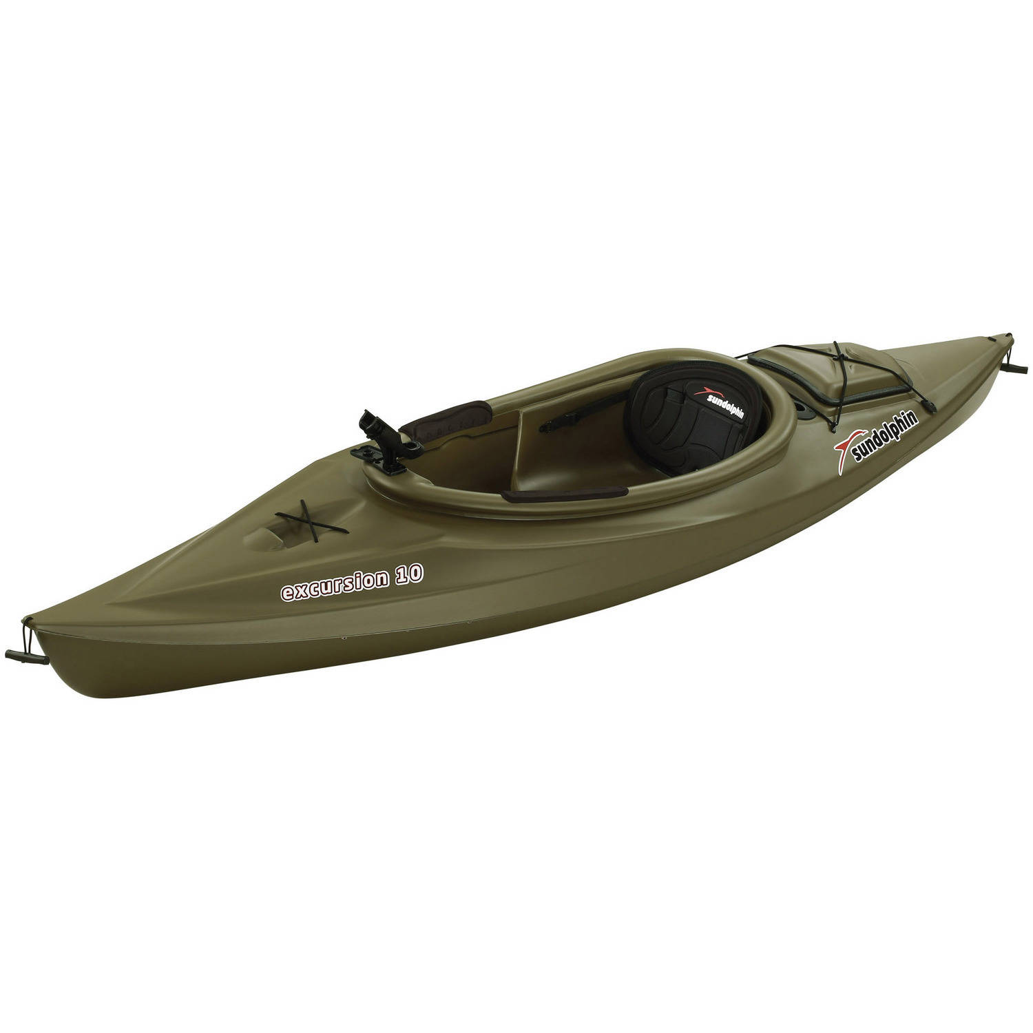 Sun Dolphin Green Excursion 10' Sit In Fishing Kayak With Bonus Paddle