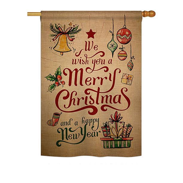 Ornament Collection Merry Christmas And Happy New Year Winter Seasonal Christmas Impressions Decorative Vertical House Flag 28 X 40 Printed In Usa Walmart Com Walmart Com