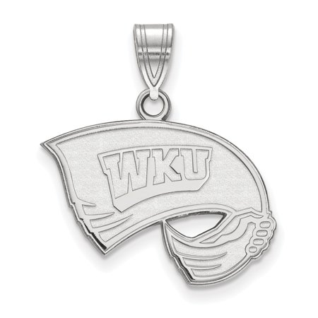 Solid 925 Sterling Silver Western Kentucky University Medium Pendant (21mm x 24mm) ()