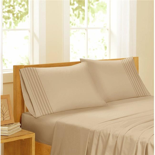 GDC-GameDevCo 37258 Egyptian Comfort Sateen Sheet Set, Taupe - Twin