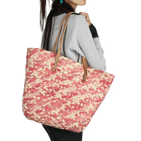 Organic Woven Straw Pink Shoulder Bag Handbag Tote With Leather Straps Summer Beach Casual Sweet Pink Straw Woven Tote