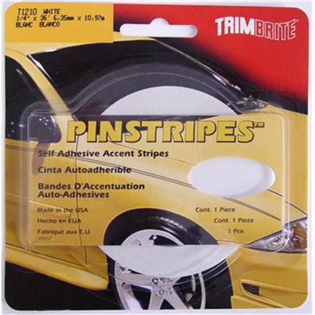TRIMBRITE T1210 Pinstripe Tape, White, 0. 25 inch X 36 Ft.