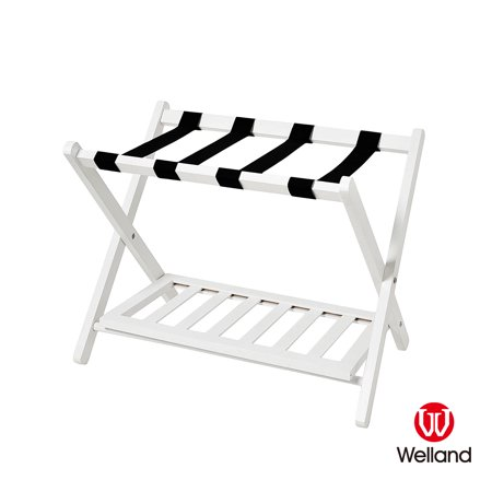 WELLAND Wood Folding Luggage Rack, White