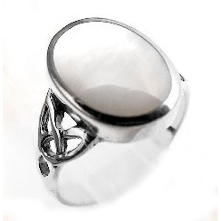 Dot Mother Of Pearl Ring - Sterling Silver Mother of Pearl Inlay Celtic Knot Ring