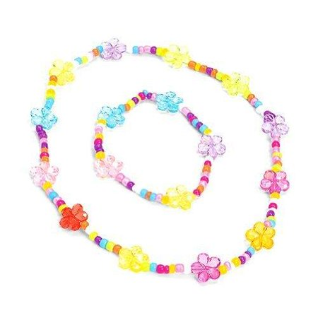 Flower Jewelry Set (one Set) - Party - Plastic Flower Necklace